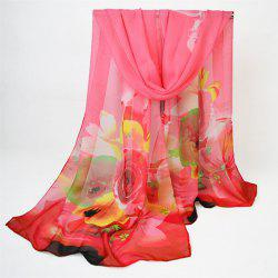 Digital Inkjet Floral Printed Chiffon Shawl Scarf - WATERMELON RED