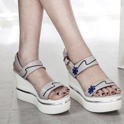 Wedge Heel Flower Pattern Sandals