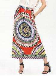 Bohemian Print High Waisted Pocket Long Skirt