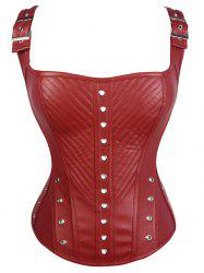 Lace-Up Faux Leather Corset Top - RED S