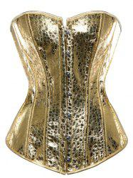 Steel Boned Metallic Lace Up Corset - GOLDEN S