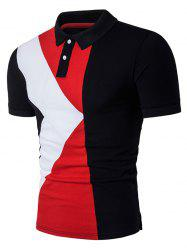 Color Block Panel Design Polo T-Shirt - BLACK