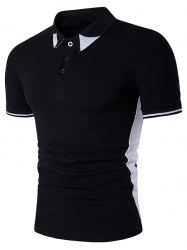 Colour Block Panel Turndown Collar Polo T-Shirt - Noir