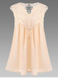 Women's Stylish V-Neck Sleeveless Lace Splicing Blouse