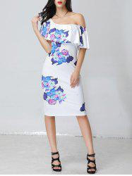 One Shoulder Ruffle Floral Midi Pencil Dress