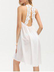 Crochet Panel Chiffon Sheer Backless Club Dress
