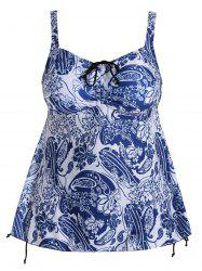 Paisley Backless Plus Size Blouson Tankini