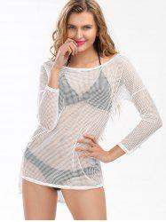 Openwork Drop Shoulder Cover Up Fishnet Top