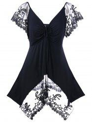 Plus Size Lace Trim Empire Waist T-Shirt