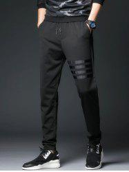 Stripe Selvedge Embellished Harem Drawstring Jogger Pants - BLACK
