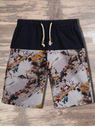 Chinese Painting Printed Drawstring Shorts