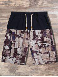 Geometric Printed Drawstring Shorts