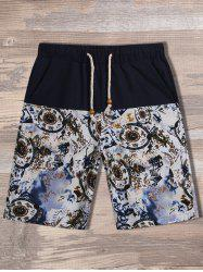 Drawstring Printed Panel Pocket Shorts