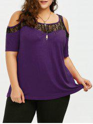 Plus Size Cold Shoulder Lace Trim T-Shirt -