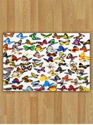 Flannel Water Absorption Butterfly Pattern Area Rug
