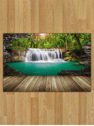 Landscape Waterfalls Print Flannel Area Rug