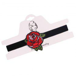 Leaf Rose Flower Embroidery Velvet Choker Necklace
