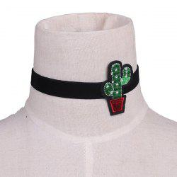 Plant Cactus Embroidery Velvet Choker Necklace