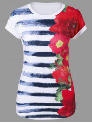 Floral and Striped Cap Sleeve T-Shirt -