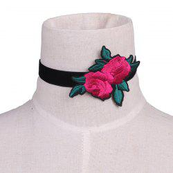 Leaves Rose Flower Embroidery Velvet Choker Necklace - BLACK