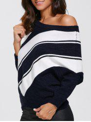 Color Block Skew Neck Sweater - PURPLISHBLUE + WHITE M
