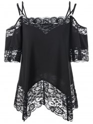 Dew Shoulder Lace Trim Blouse