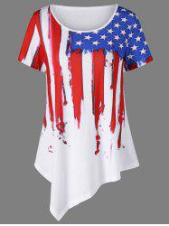 Plus Size Asymmetric Distressed American Flag T-Shirt