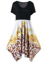 Plus Size Handkerchief Floral and Leopard Dress
