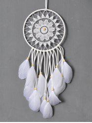 Dreamcatcher Crochet Floral Feather Hang Home Decoration - WHITE