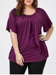 Plus Size Raglan Sleeve Overlay T-Shirt - VIOLET ROSE