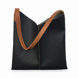 Contrast Strap Faux Leather Shopper Bag