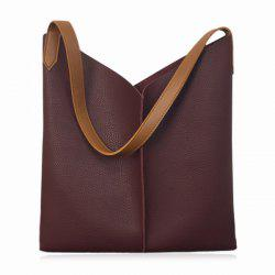 Contrast Strap Faux Leather Shopper Bag - WINE RED