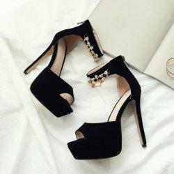 Pendant Stiletto Heel Ankle Strap Sandals