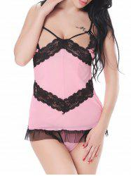 Cutout Lace Up  Cupless Mesh Babydoll