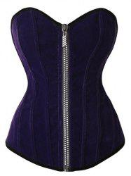 Zipper Fly Lace-Up Velvet Corset Top - DEEP PURPLE S
