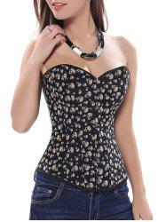Skull Printed  Strapless Lace Up Corset - BLACK