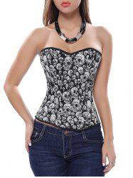 Criss Cross Corset with Skulls Graphic - BLACK AND GREY