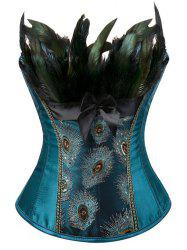 Feather Sequined Embroidered Lace-Up Corset - PEACOCK BLUE