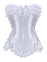 Bowknot Lace Panel Lace-Up Corset