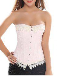 Strapless  Lace Trim Lace Up Jacquard Corset