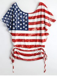 Distressed Lace Up Batwing American Flag Patriotic T-Shirt - COLORMIX