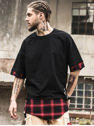 Asymmetric Longline Plaid Spliced T-Shirt