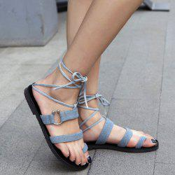 Denim Toe Ring Lace Up Flat Sandals