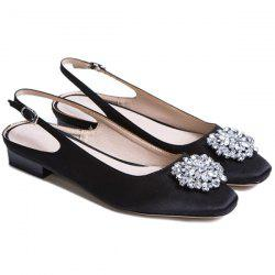 Floral Slingbacks Beading Flat Shoes - BLACK