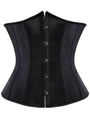 Steel Boned Lace Up Corset - BLACK