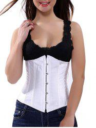 Steel Boned Lace Up Corset - WHITE
