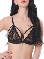 Back Closure Strappy Lace Triangle Bra - BLACK