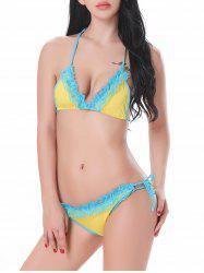 Ruffled String Halter Bra with Scrunch Briefs