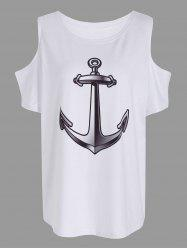 Anchor Print Cold Shoulder Tee