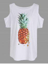Pineapple Print Cold Shoulder Tee